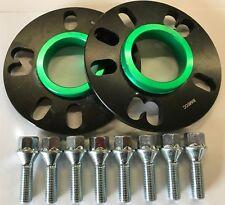 Schwarz Leichtmetall Rad Distanzscheiben 10MM 73.1 - 58.1 x 2 + M12X1.25 Schrauben Fiat Punto 4X98