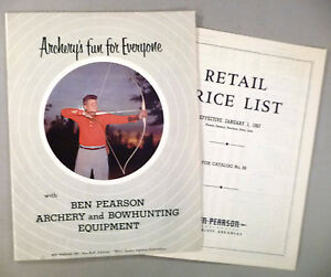 Ben Pearson Archery CATALOG - 1957 with PRICE LIST ~~ bowhunting