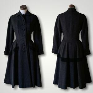 BETTY ROSE Vintage Couture 40s Swing Coat Jacket Black Wool Velvet XS/S