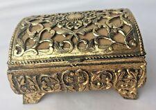 Vtg Gold-tone Jewelry Casket Box Hearts Music Box  Japan