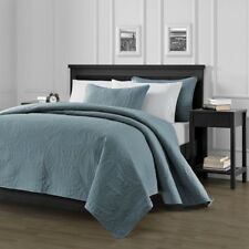 "Austin Quilted Oversize 118""x106"" Bedspread Coverlet  3-piece King Set, Blue"
