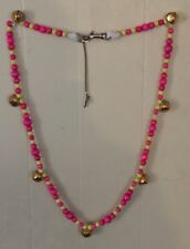 """Nwot Ooak Pretty In Pink Party Pony Speed Beads Bells Horse Necklace 49"""""""