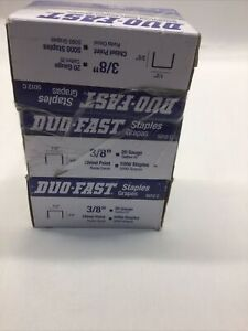 """Qty (3) Boxes of Duo-Fast 6412 CR 3/8"""" Staples, 19 Gauge, 3/16"""" Crown"""