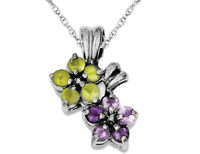 Natural Peridot and Amethyst Flower Pendant Necklace in Sterling Silver with Cha