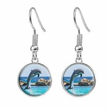 Dolphin Silver Plated Costume Jewellery Drop Earrings Birthday Poison c62
