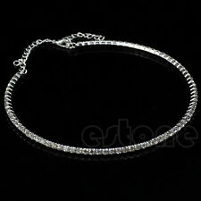 Single Row Crystal Rhinestone Necklace Choker Silver Chain for Wedding Party