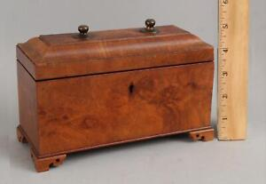 19thC Antique Figured Mahogany Fitted Box 4 Cut Glass Cologne Perfume Bottles