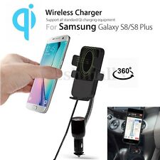 QI Wireless Charger Dual USB Car Holder Cigarette Lighter Mount For iPhone X 8