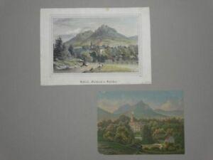 Schloss Fischbach in Schlesien - 2 Lithographien kol. - Karpniki Polen - 1842