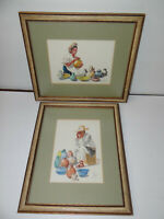 Framed Watercolor Painting Artist C Blanco Signed Lot of 2  14x12