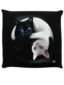 Spiral Cushion Yin Yang Cats Black 40x40cm
