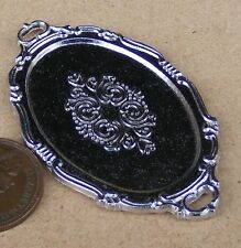 1:12 Scale 5.8cm x 3.4cm Oval Silver Metal Tray Tumdee Dolls House Kitchen