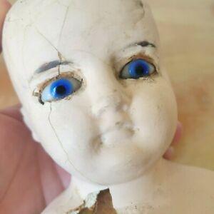 Antique Paper Mache Doll Head, German, French? Vibrant Blue Glass Eyes 4 repair