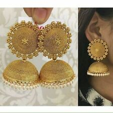 Women Gold Plated Indian Bollywood Wedding Party Fashion Bridal Jhumka Earring.