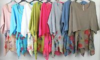 Ladies Lagenlook Italian Asymmetric Hem 2 Piece Floral Print Dress Plain Shrug