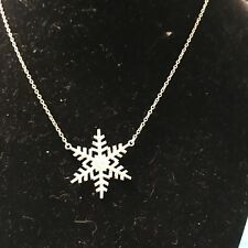 Snowflake Necklace .925 Sterling Silver BAB 7.5 Inch (AB)