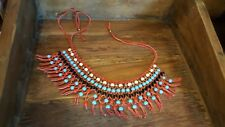NEW HANDMADE NATIVE RED LEATHER BEADED BEAD BIB STATEMENT NECKLACE