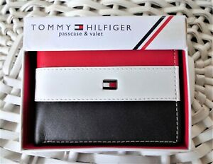 Men's Leather Wallet 'Tommy Hilfiger' Bifold, BLACK,WHITE&RED,Coin Pouch,MRP $60