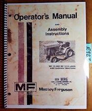 Massey Ferguson MF 10 MF 12 G Lawn & Garden Tractor Owner Operator Manual 6/74