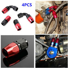 4 PCS AN6 0°+90° Degree Swivel Oil/Fuel/Air/Gas Line Hose End Fitting Red+Black
