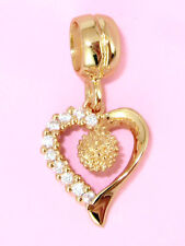 9CT 9K SOLID GOLD Cz Love HEART Charm Bead For European Bracelet or Necklace OZ