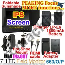 Lilliput 7 663/O/P2 IPS Peaking Focus HDMI In Out Monitor+LP-E6 battery+charger