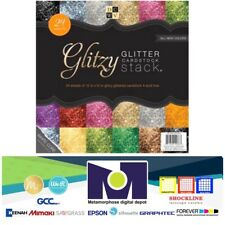 DCWV The Glitzy Glitter Cardstock Stack 12 in X 24 Sheets Total 6 Solid...