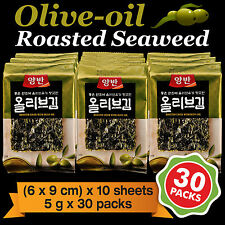 Korean Food Seaweed Snack Olive-oil Roasted Seasoned Laver Nori Gim/Kim 30 Packs