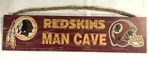 """WASHINGTON REDSKINS NFL 4""""X16"""" MAN CAVE DISTRESSED LOOK WOOD SIGN FREE SHIPPING"""