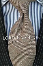 Lord R Colton Oxford Tie - Beige Plaid Silk & Wool Necktie - $125 Retail New