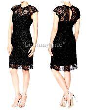 Lipsy 8 Black and Silver Glitter Lace Cap Sleeve Midi Dress .