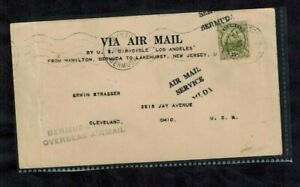 Bermuda Airmail Cover Bermuda to Lakehurst NJ via US Dirigable Los Angeles 1925