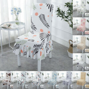 Stretch Polyester Skirt Slipcover Chair Cover Dining Room Wedding Banquet Event