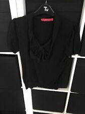 Next Size 14 Black Short Sleeve Jumper (C6)