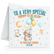 Personalised Cute Baby Shower Card Any Name & Date 15 x 15 cm Square