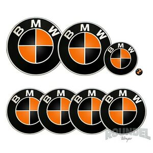 For BMW Badges - Gloss Black & Orange - All Models Decals Wrap Stickers Overlays