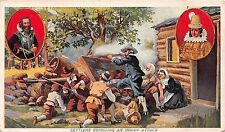 Prudential Insurance advertising postcard Settlers repel Indian Attack