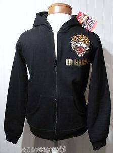 NWT Ed Hardy Tiger Youth Boys Full-Zip Hoodie M (10) Black MSRP$84