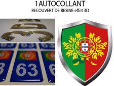 1 adesivo AUTOADESIVO auto TUNING 3D RESINA STEMMA PORTOGALLO 8X6 CM