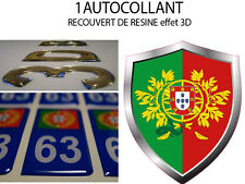 1 sticker AUTOCOLLANT auto TUNING 3D RESINE BLASON PORTUGAL 8X6 CM