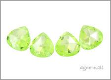 4 CZ Pear Briolette Beads 10x10mm Apple Green #64631