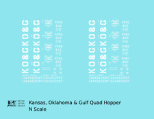 K4 N Decals Kansas Oklahoma and Gulf Quad Hopper White KO&G