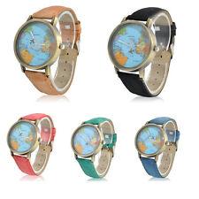 Unisex Casual Watch Denim Leather World Map Dial Analog Quartz Wristwatch Watch