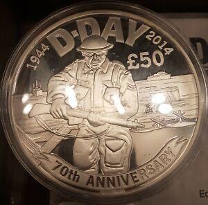 Rare 2014 10 oz Pure Silver £50 Coin D-Day 70th An 145 produced Presentation Box