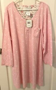 NWT KAREN NEUBURGER Encore Womens Pink L/Sl Henley Night Shirt-Size 1X