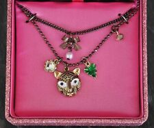 Betsey Johnson Necklace TIGER Face Pendant Charm Heart Crystal Bow Pearl Charms