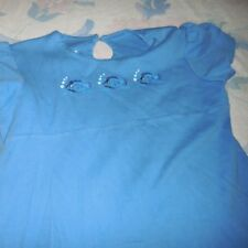 guc Strasburg blue embroidered fish cotton knit dress girl 5 free ship USA