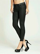 Guess Cropped Mid Rise Black Skinny Jeans With Studs Size 31