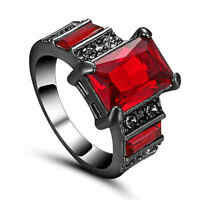 Size 8 Square Cut Red Ruby Wedding Ring Black Rhodium Plated Womens Jewelry
