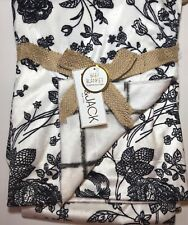 Lila & Jack Baby Blanket Reversible Minky Fabric Black and White Floral or Check